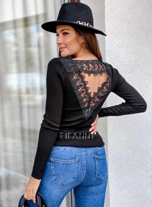 Bluzka z ozdobnym ażurem na plecach Bazi czarna