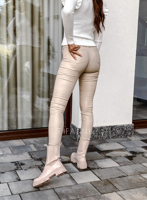 Spodnie woskobane Elin light beige 4