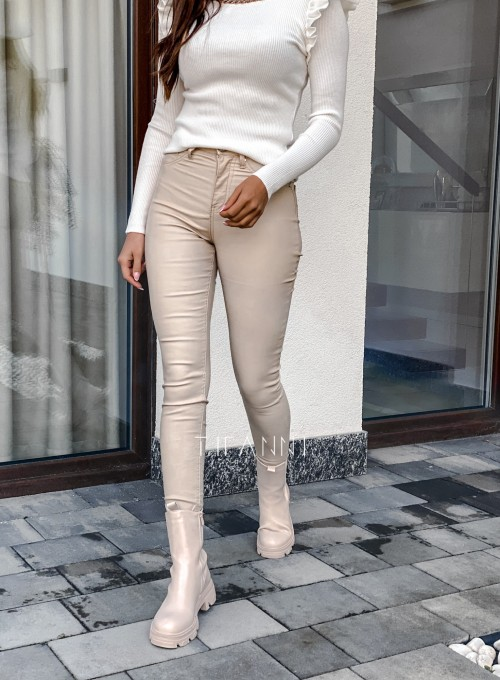 Spodnie woskobane Elin light beige 5