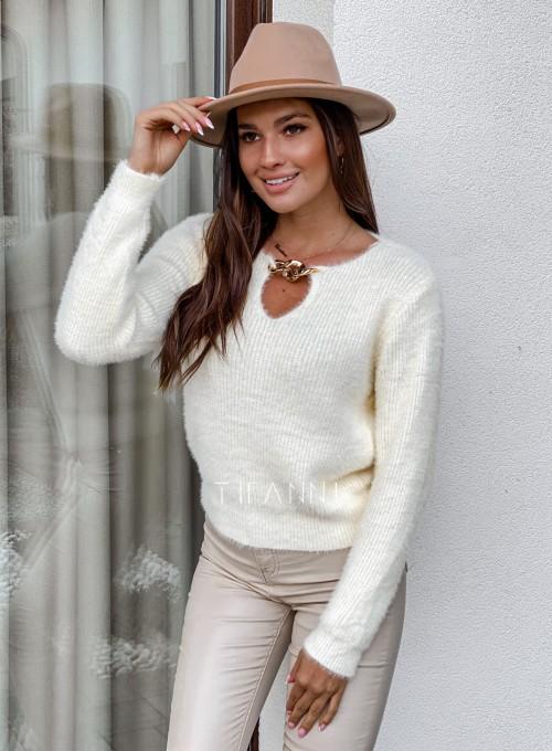 Sweter z ozdobnym łańcuszkiem Loretto śmietankowy 5