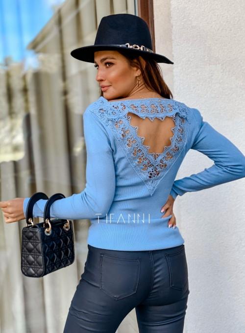 Bluzka z ozdobnym ażurem na plecach Bazi blue