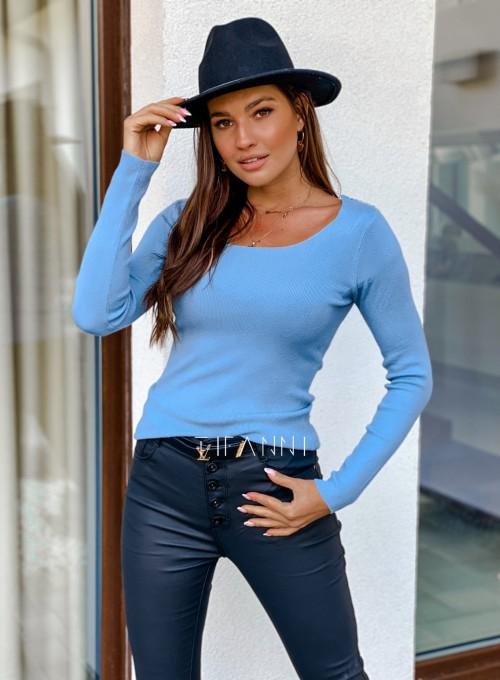 Bluzka z ozdobnym ażurem na plecach Bazi blue 4