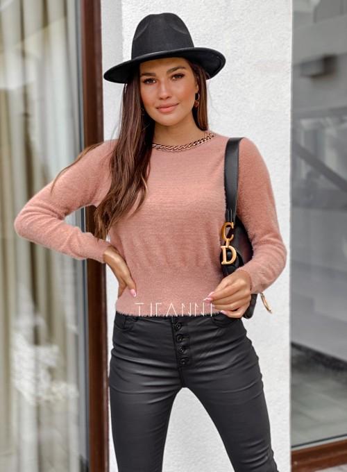 Sweter alpakowy Tifi pudrowy