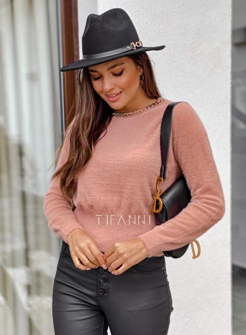 Sweter alpakowy Tifi pudrowy 2