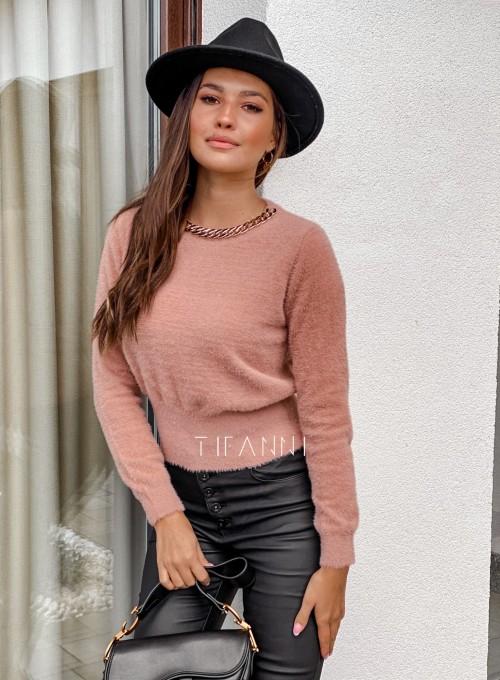 Sweter alpakowy Tifi pudrowy 4