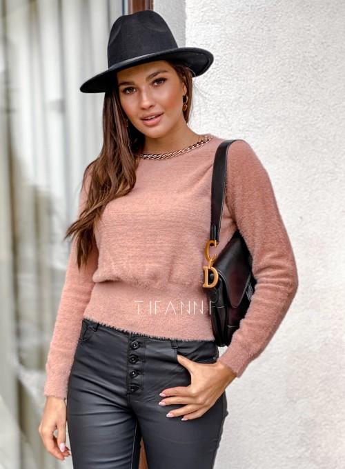 Sweter alpakowy Tifi pudrowy 5