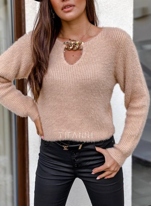 Sweter z ozdobnym łańcuszkiem Loretto beżowy 1