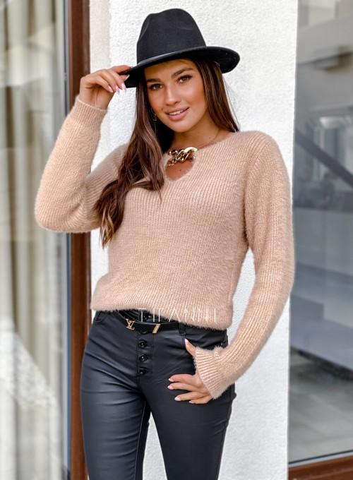 Sweter z ozdobnym łańcuszkiem Loretto beżowy 2