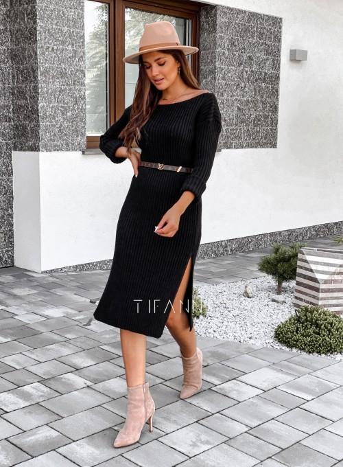 Sukienka swetrowa Flori łódka czarna 3