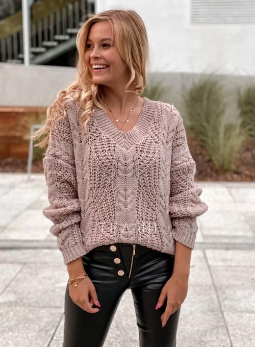 Sweter ażurowy Card beżowy