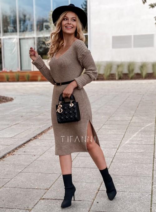 Sukienka swetrowa Flori beżowa
