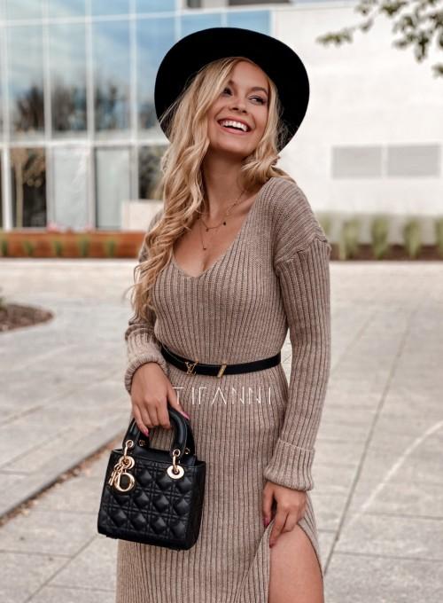 Sukienka swetrowa Flori beżowa 1