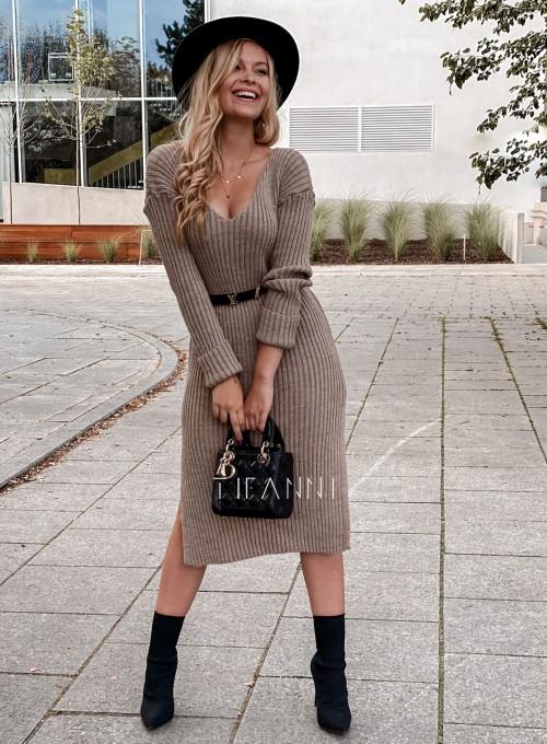 Sukienka swetrowa Flori beżowa 4