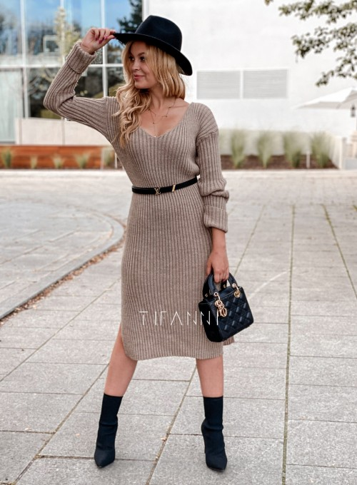 Sukienka swetrowa Flori beżowa 5