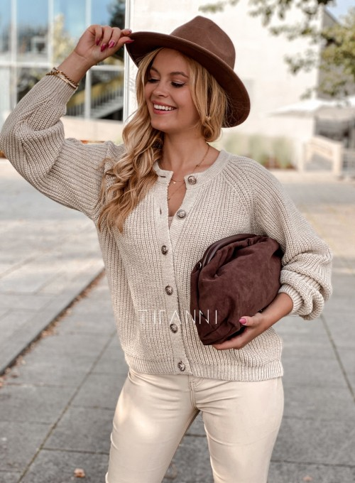 Sweter rozpinany Jessi beżowy 2