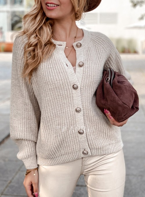 Sweter rozpinany Jessi beżowy 1