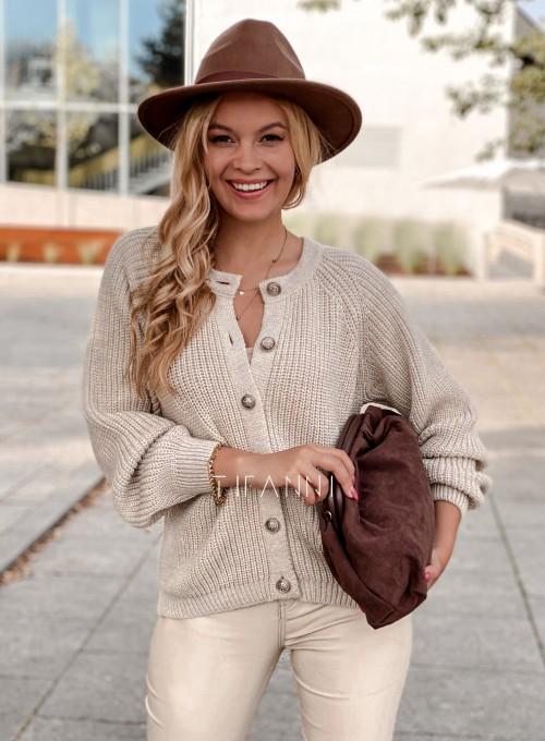 Sweter rozpinany Jessi beżowy 4