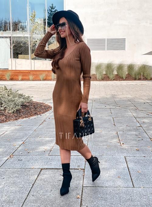 Sukienka swetrowa Focus karmelowa