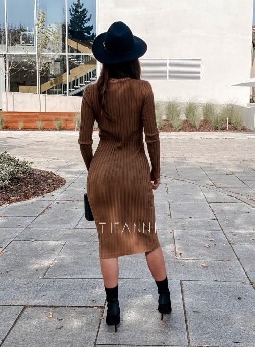 Sukienka swetrowa Focus karmelowa 3