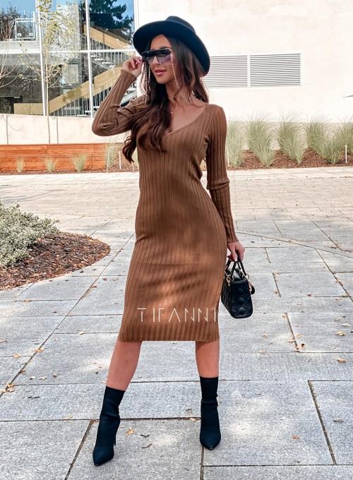Sukienka swetrowa Focus karmelowa 4