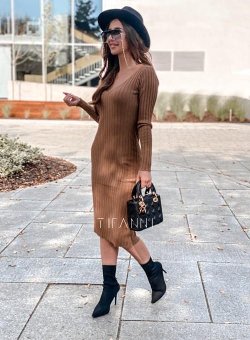 Sukienka swetrowa Focus karmelowa 2