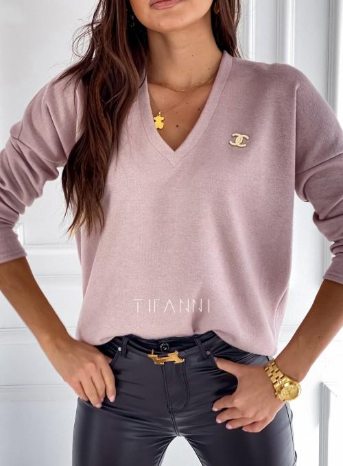 Sweter z dekoltem Pari pudrowy 1