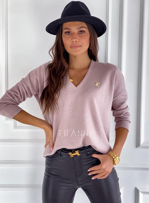 Sweter z dekoltem Pari pudrowy 4
