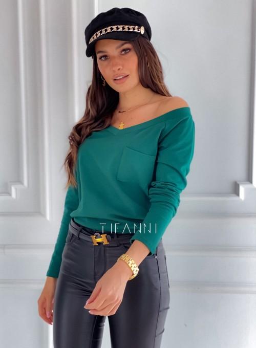 Bluzka z kieszonką Lili butelkowa zieleń 3