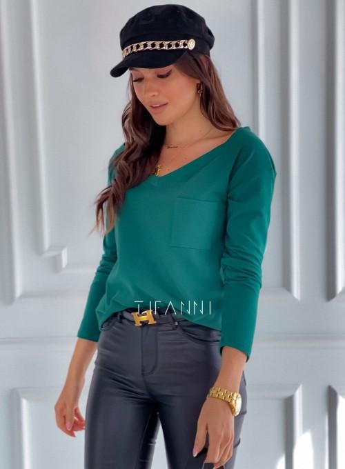 Bluzka z kieszonką Lili butelkowa zieleń 4