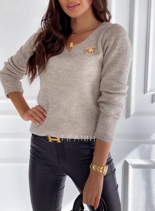 Sweter Pandi beżowy 1