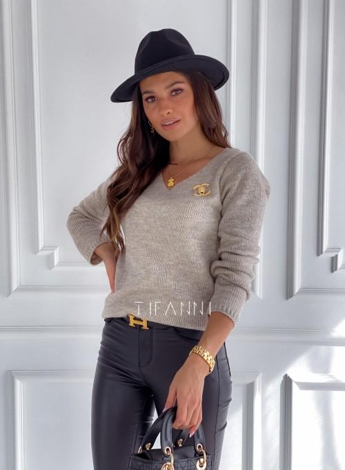 Sweter Pandi beżowy 4