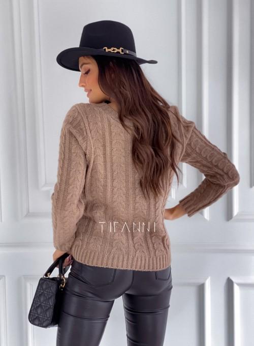 Sweter z warkoczem Cristi nude 3