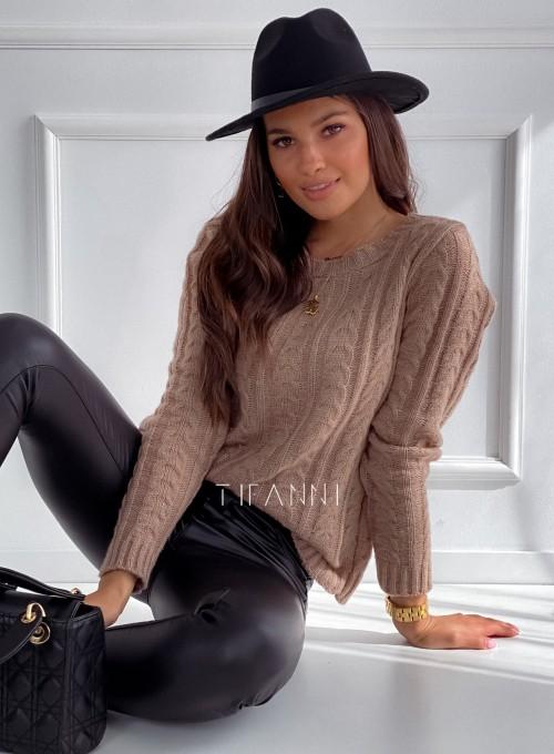 Sweter z warkoczem Cristi nude 1
