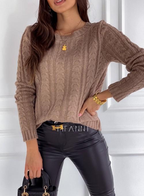 Sweter z warkoczem Cristi nude 2