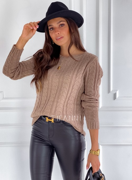 Sweter z warkoczem Cristi nude 5