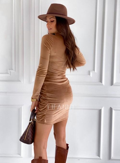 Sukienka welurowa wiązana Dali camel 2