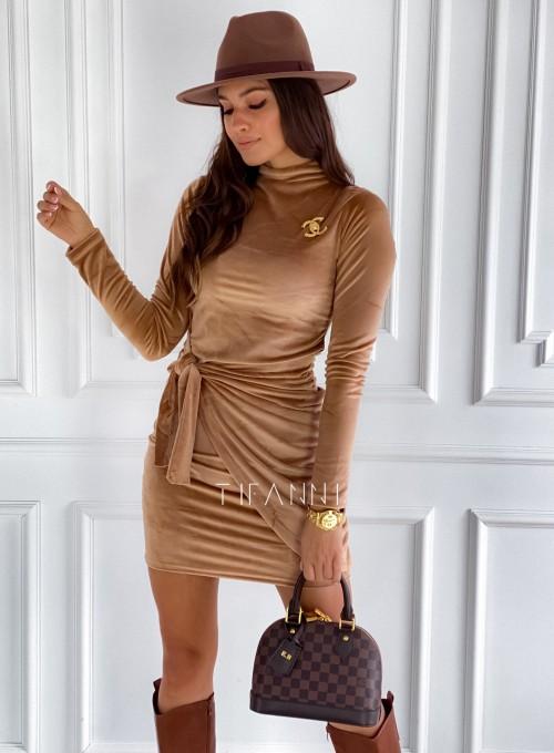 Sukienka welurowa wiązana Dali camel 3