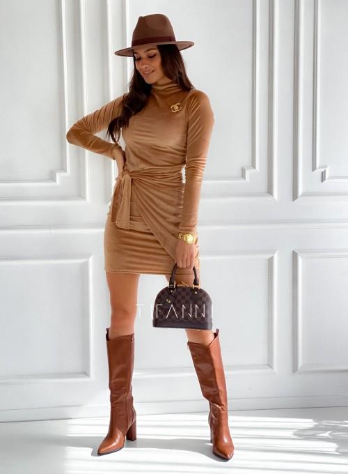 Sukienka welurowa wiązana Dali camel 1