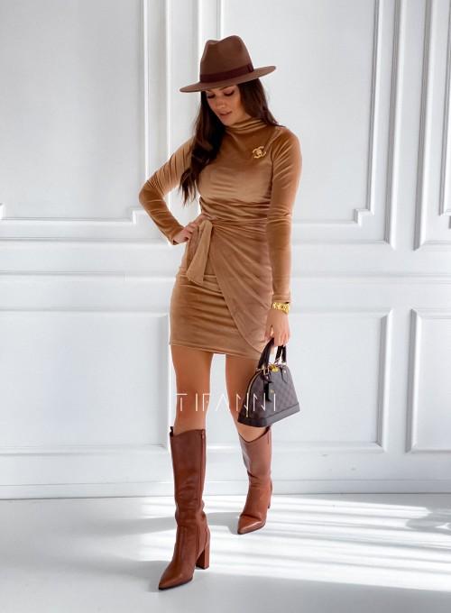 Sukienka welurowa wiązana Dali camel 4