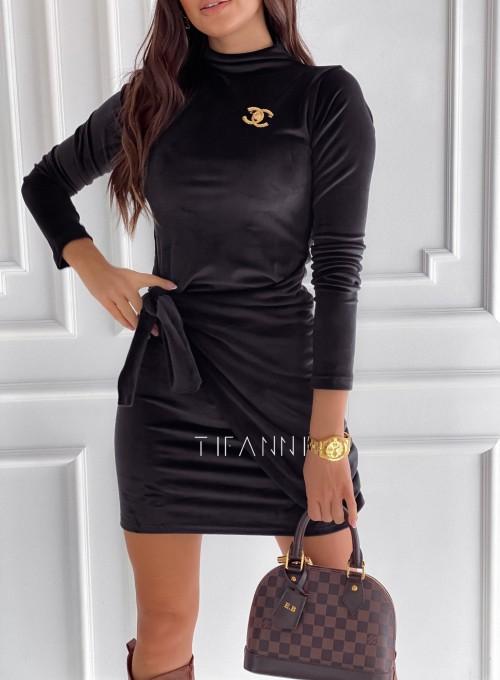 Sukienka welurowa wiązana Dali czarna 1