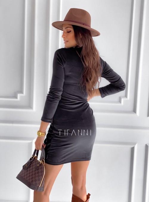 Sukienka welurowa wiązana Dali czarna 2