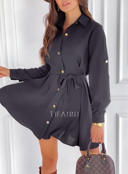 Sukienka koszulowa Kais czarna 1