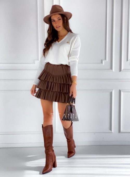 Sweter z dekoltem Pari śmietankowy 6