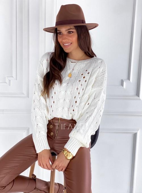 Sweter Simply śmietankowy 5
