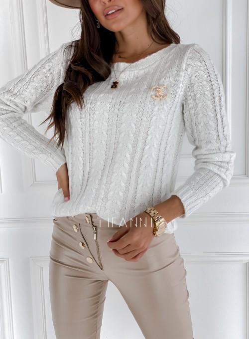 Sweter z warkoczem Cristi śmietankowy 1