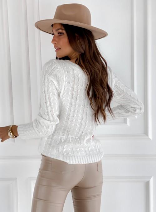 Sweter z warkoczem Cristi śmietankowy 2