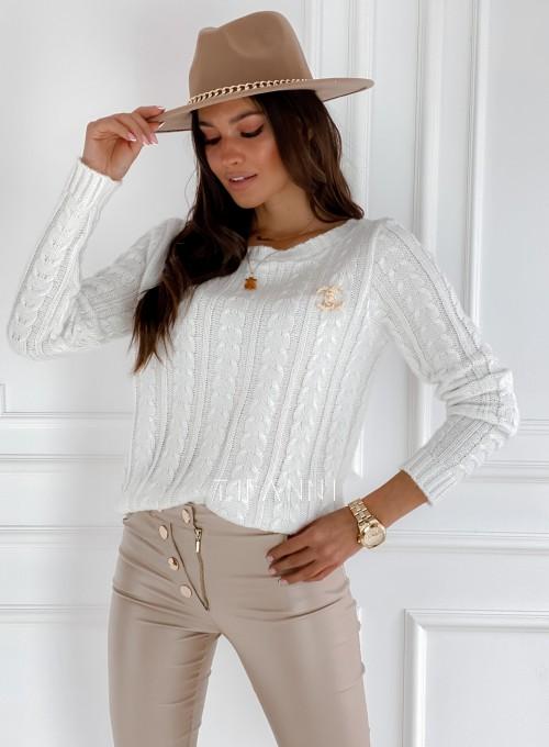 Sweter z warkoczem Cristi śmietankowy 3