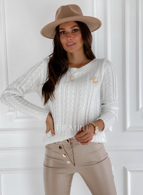 Sweter z warkoczem Cristi śmietankowy 4
