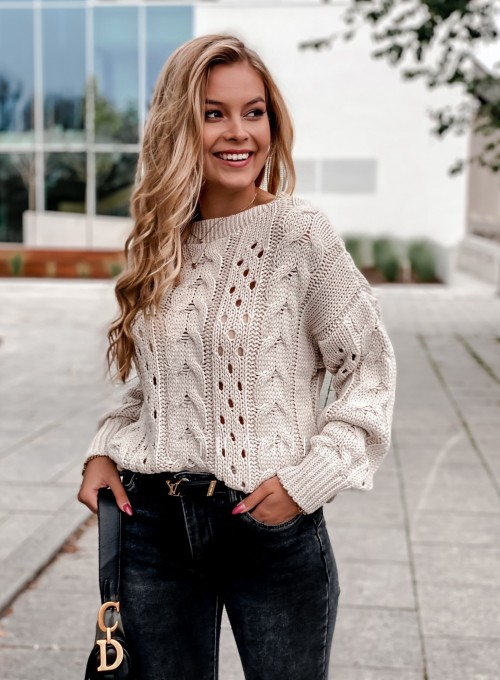 Sweter Simply beżowy 2