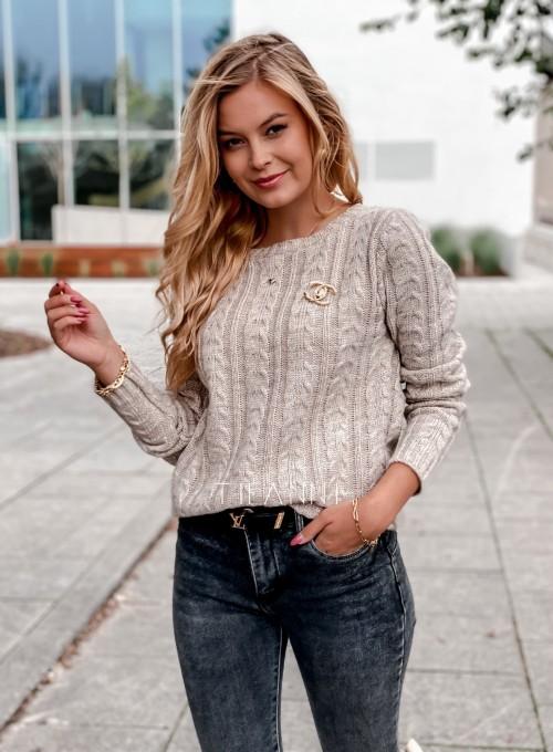 Sweter z warkoczem Cristi beżowy 4